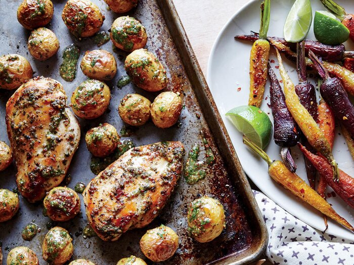 Paleo sheet pan chicken with roasted baby potatoes recipe cooking sheet pan chicken with roasted baby potatoes forumfinder Images