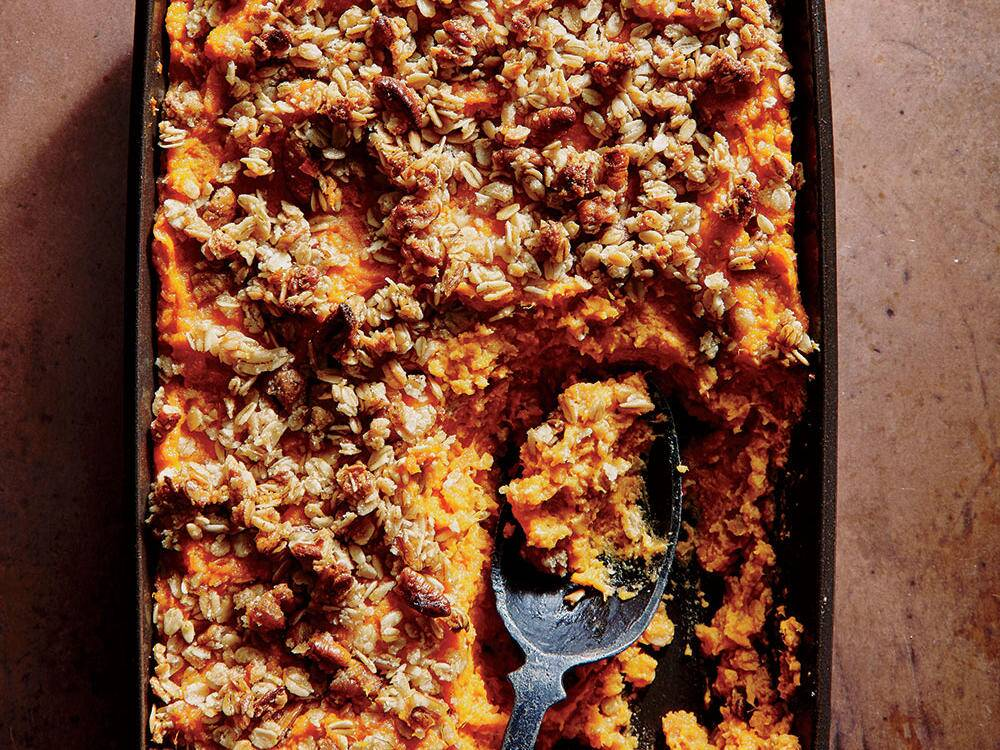 sweet potato casserole with crunchy oat topping recipe cooking light