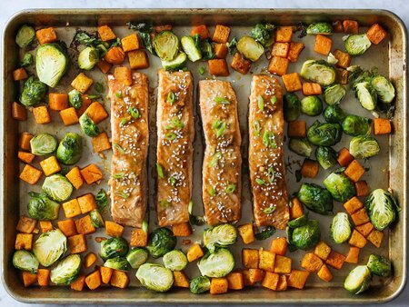 Sheet Pan Honey Soy Salmon Dinner Recipe Cooking Light