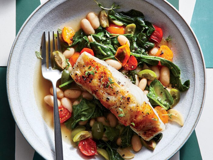 Seared Sea Bass With Lemon Olive White Beans