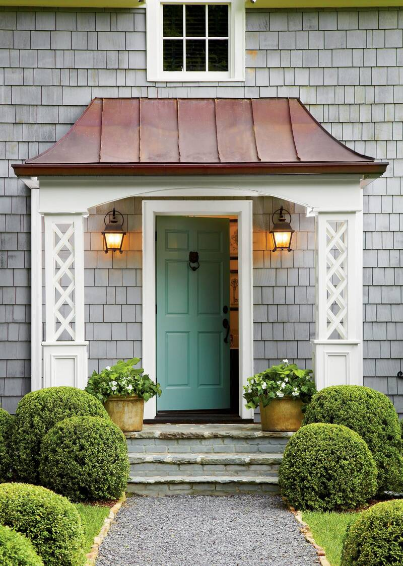 Teal Door On Gray House Committing To A Front Color