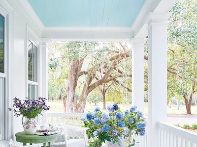 Front Porch Blooms Tailor Your Hydrangeas To Decor Blue Look Gorgeous Underneath A Ceiling Painted