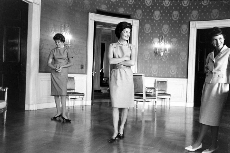 First Lady Jackie Kennedy Redecorating The Blue Room In White House