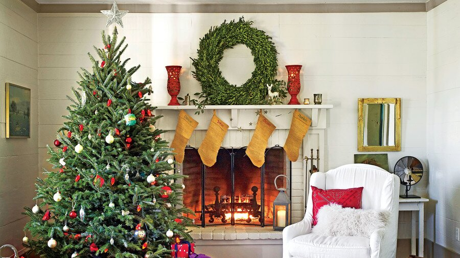 Dressed-Up Christmas Mantels - Christmas Mantel Decorating Ideas - Southern Living