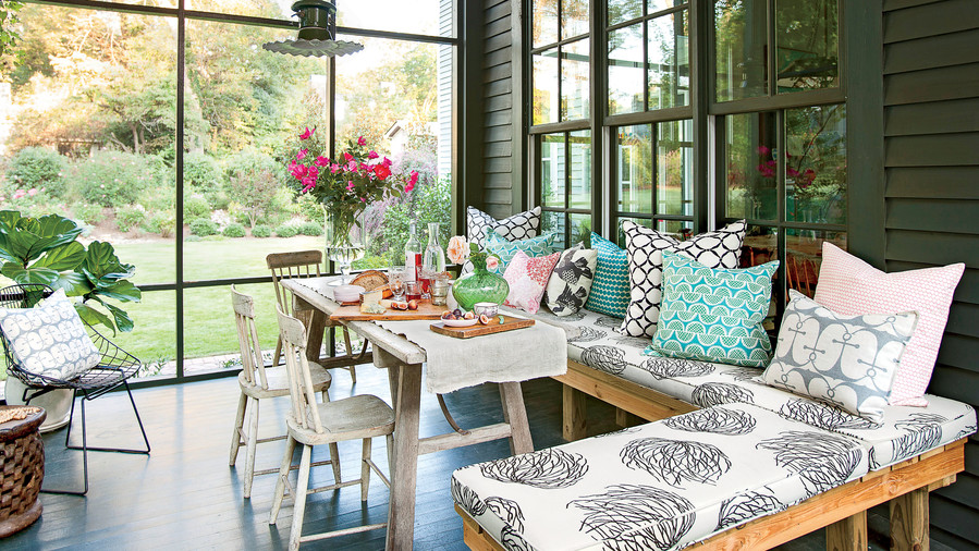 covered porch furniture. Modern Cottage Screened Porch Covered Furniture D