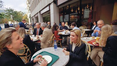 Breadline Patrons Dining Outdoors