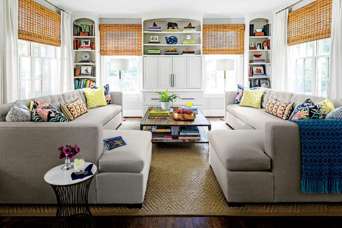 Living Room with Gray Sectional Sofas. 106 Living Room Decorating Ideas   Southern Living