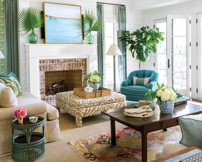 living room design with stairs. Coastal Lowcountry Living Room Beach Decorating Ideas  Southern