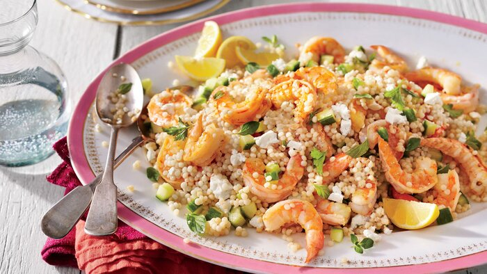 30 minute recipesfor when youre already starving southern living garlic shrimp and herbed couscous salad forumfinder Choice Image