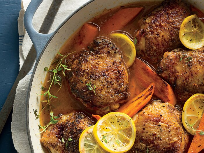 Braised chicken thighs with carrots and lemons recipe southern living braised chicken thighs with carrots and lemons forumfinder Image collections