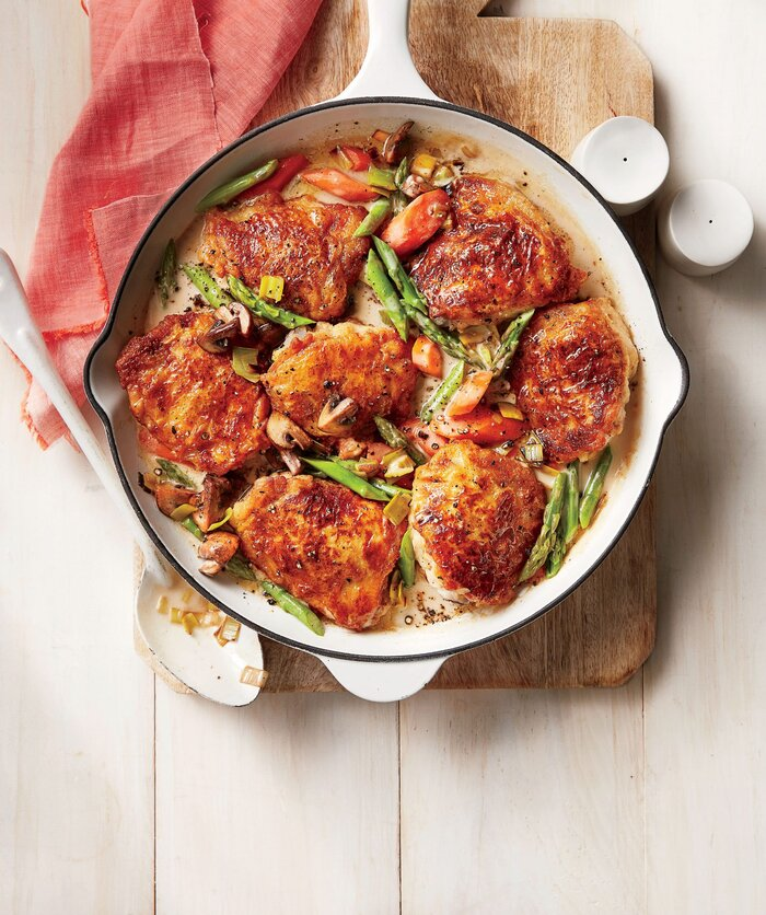 chicken fricassee with spring vegetables recipe southern living