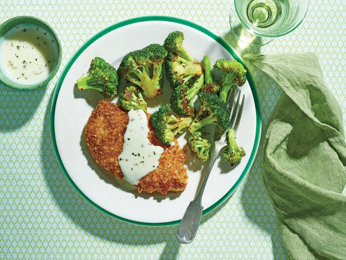 Crispy Oven-Fried Chicken Cutlets with Roasted Broccoli and Parmesan ...
