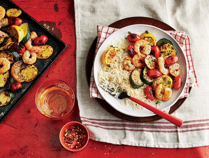 Sheet pan shrimp and vegetables with rice recipe southern living sheet pan shrimp and vegetables with rice recipe forumfinder Choice Image