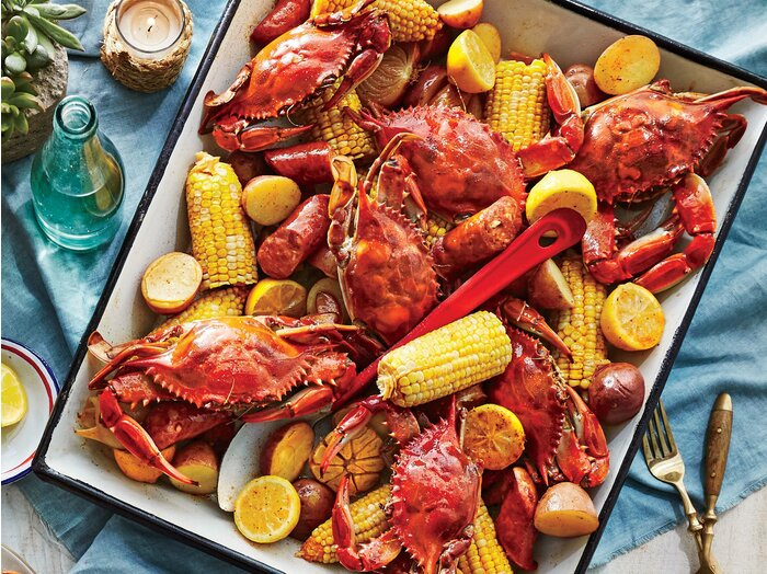 Crab boil with beer and old bay recipe southern living crab boil with beer and old bay forumfinder Image collections