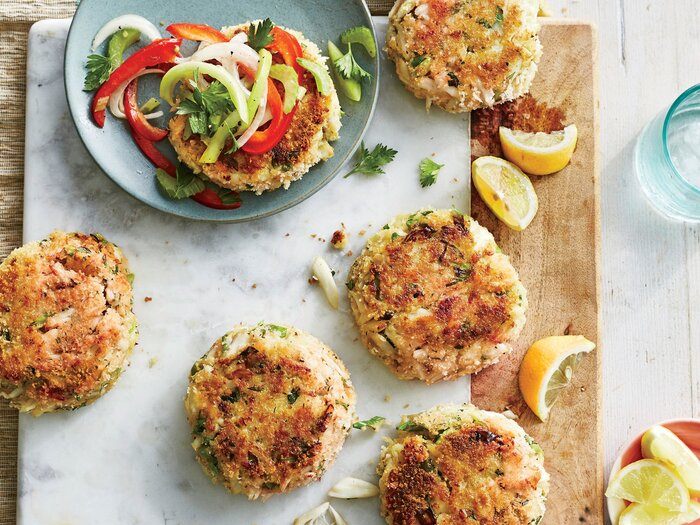 Best Ever Crab Cakes With Green Tomato Slaw