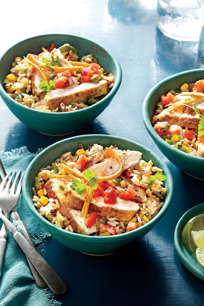 Quick and easy chicken cutlet recipes southern living southwest chicken rice bowl forumfinder Images