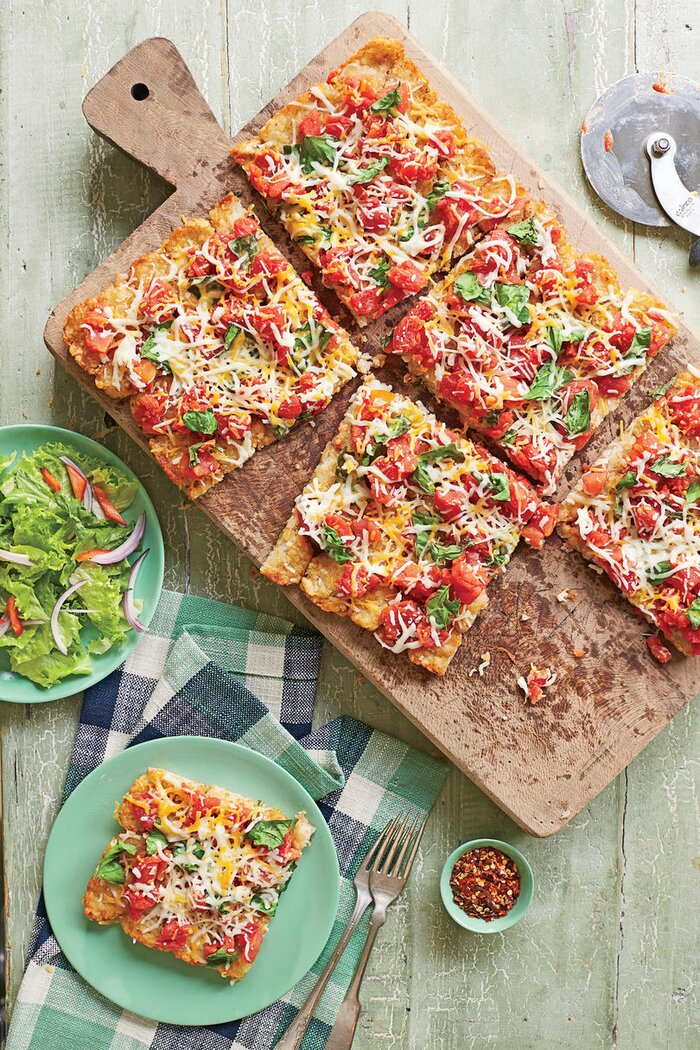 Quick and easy 5 ingredient dinner recipes southern living potato crusted pizza recipe forumfinder Gallery