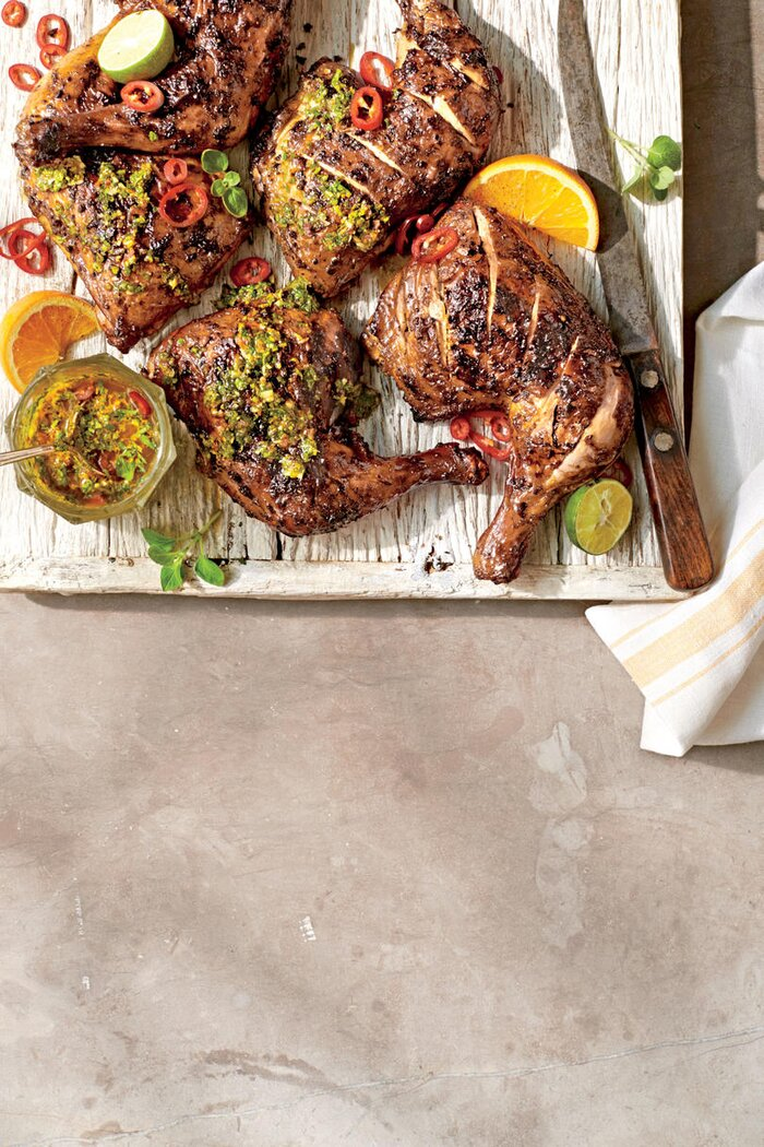 Smoker barbecue recipes southern living smoked mojo leg quarters forumfinder Images
