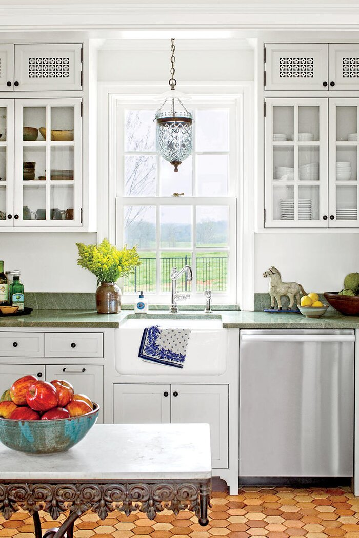 Our Best Cottage Kitchens - Southern Living Sea Green Granite Kitchen Counter Top Ideas on garage counter ideas, living room ideas, tile counter ideas, granite backsplashes for kitchens, green kitchen counter ideas, heating ideas, terracotta kitchen counter ideas, coffee shop counter ideas, dining room counter ideas, natural stone ideas, office counter ideas, granite cabinet tops, white kitchen counter ideas, concrete kitchen counter ideas, breakfast bar counter ideas, wood shutters ideas, quartz counter ideas, granite designs, microwave counter ideas, bath counter ideas,
