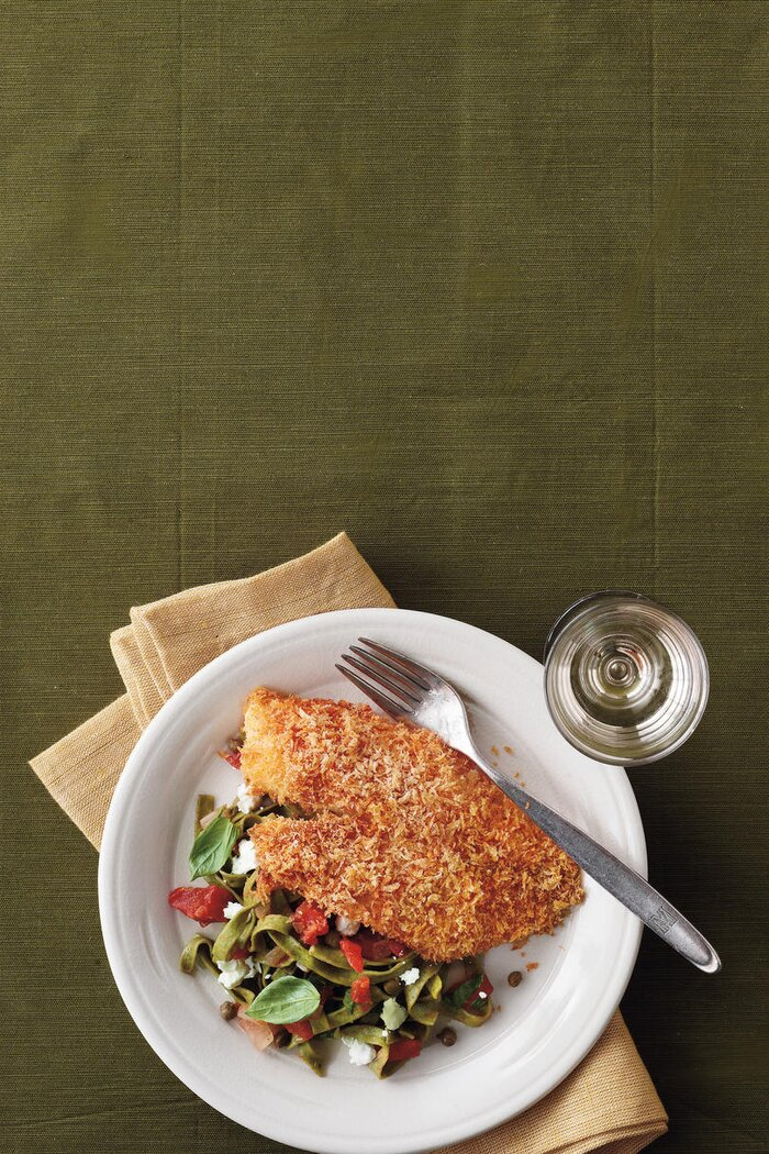 Fresh tilapia recipes southern living crispy oven baked tilapia recipe with lemon tomato fettucine forumfinder Image collections