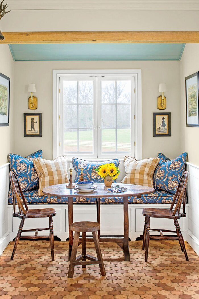 blue and yellow kitchen dining nook - Kitchen Dining