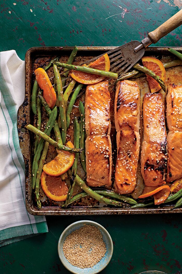 26 quick fix seafood suppers southern living honey soy glazed salmon with veggies and oranges forumfinder Image collections