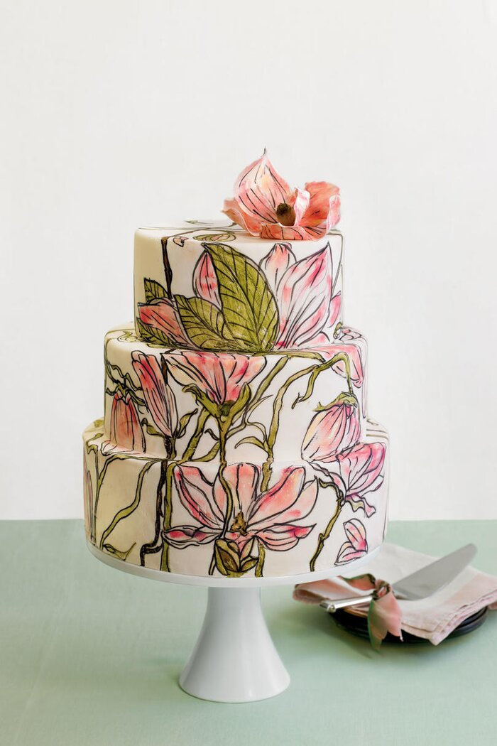 Wedding cakes with pictures southern living hand painted wedding cakes mightylinksfo