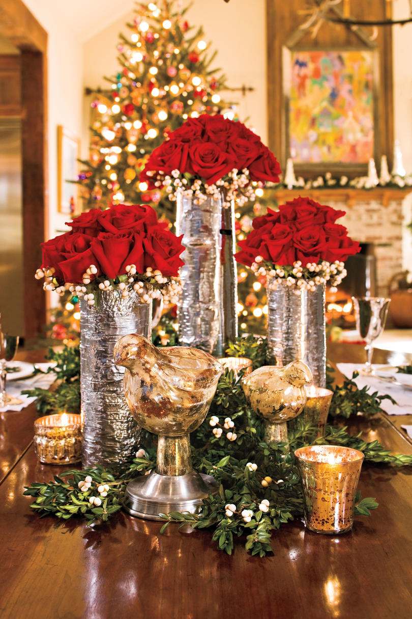 christmas decorating red rose centerpiece