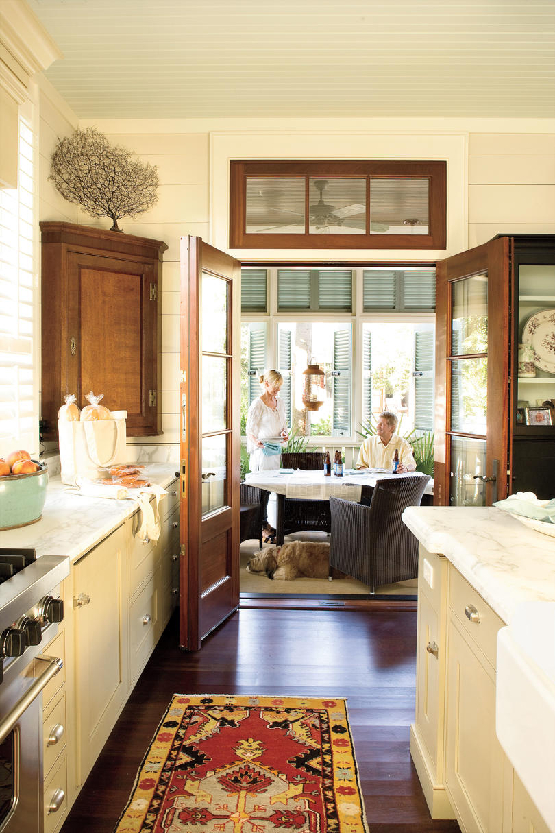 French doors to a porch off the kitchen. #porch #decoratingideas #traditional #frenchdoors