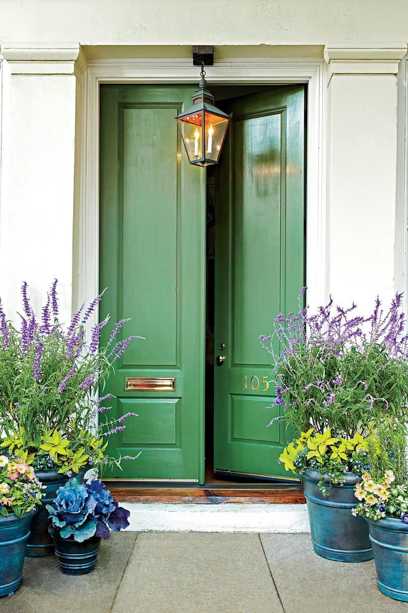 green front door surrounded by plants in blue pots