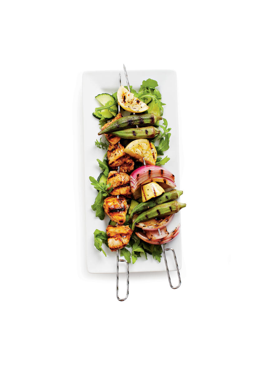 Grilled Chicken-Vegetable Kabobs