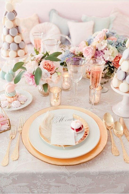 spring macaroons wedding tablescape - Tablescapes