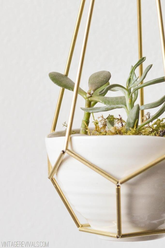 brass and leather planter - Diy Hanging Planter