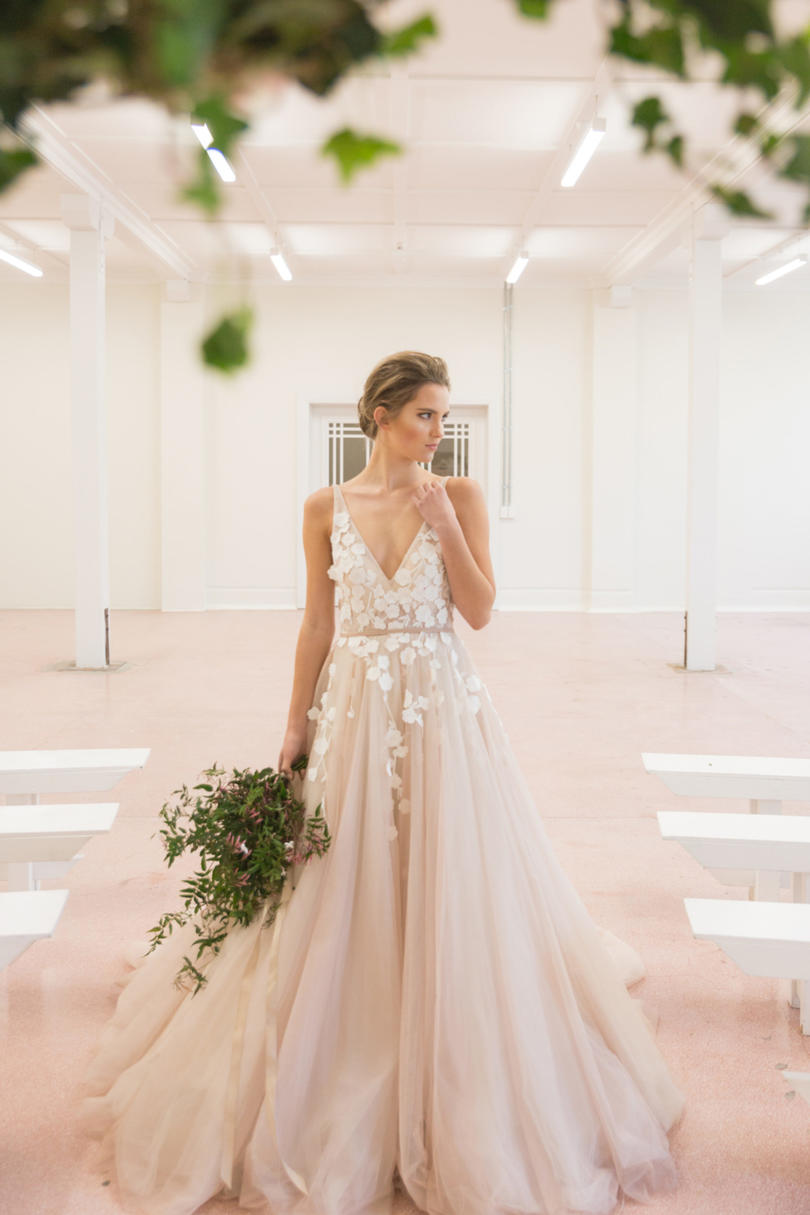Strappy Blush Gown With Floral Embellishments