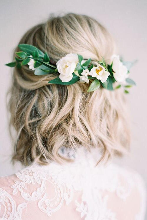 Stunning short hairstyles for your wedding day southern living half up pinned with flowers junglespirit Images