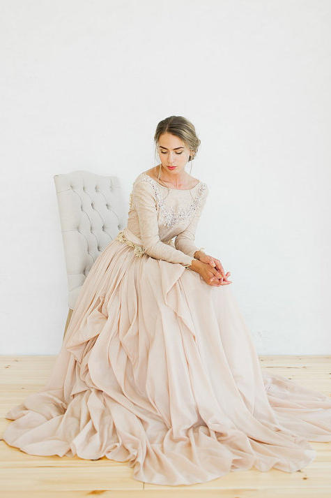 Ethereal Ruffled Blush Gown
