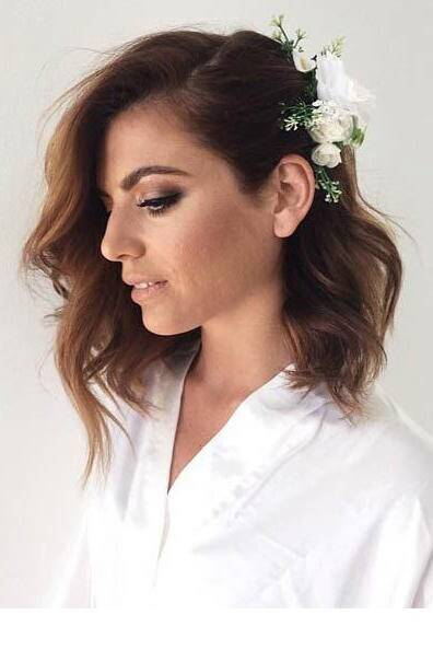Rx 1709 Short Wedding Hairstyles Curled Lob With Pinned Back Side