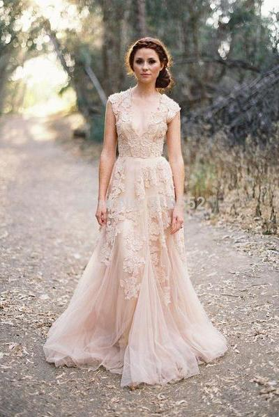 Boho Lace and Tulle Gown