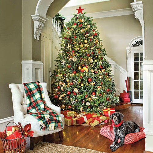 Most pinned christmas decorating ideas southern living red gold christmas tree solutioingenieria Image collections
