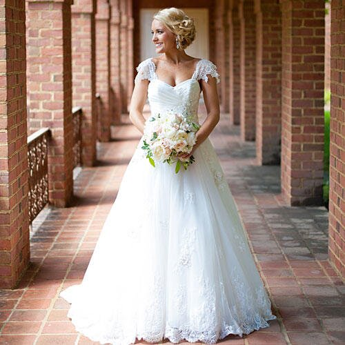 Gorgeous cap sleeve wedding dresses southern living lace sleeve gown junglespirit Gallery