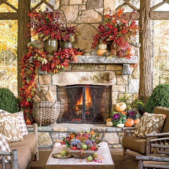 Outdoor Fireplace With Fall Garland