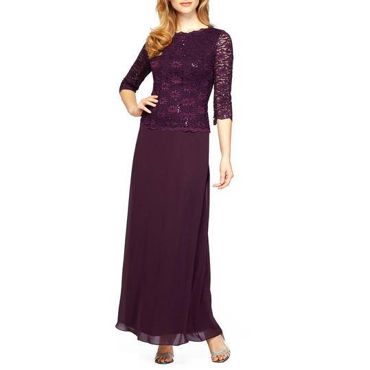 Alex Evenings Sequin Lace Chiffon Gown
