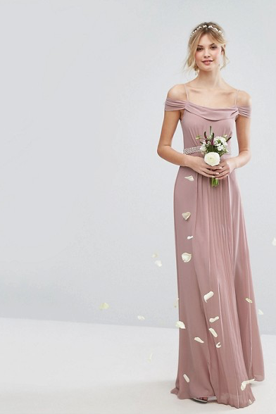 Bridesmaid Dresses Under 100 Mauve Cold Shoulder Embellished Maxi Dress