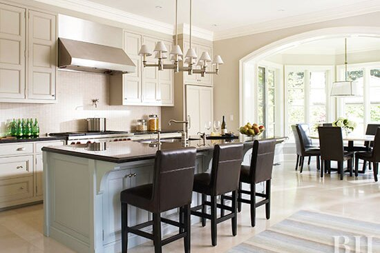 Open Kitchen With Dark Wood Stools