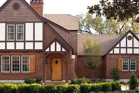 Brick Tudor Style Homes Are Often Contrasted With Areas Of Stone Stucco Or Wooden Claddings On Principle Gables Upper Stories