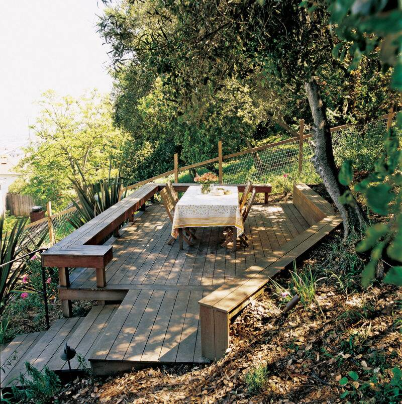 Uphill Backyard Landscaping taming a slope - sunset magazine