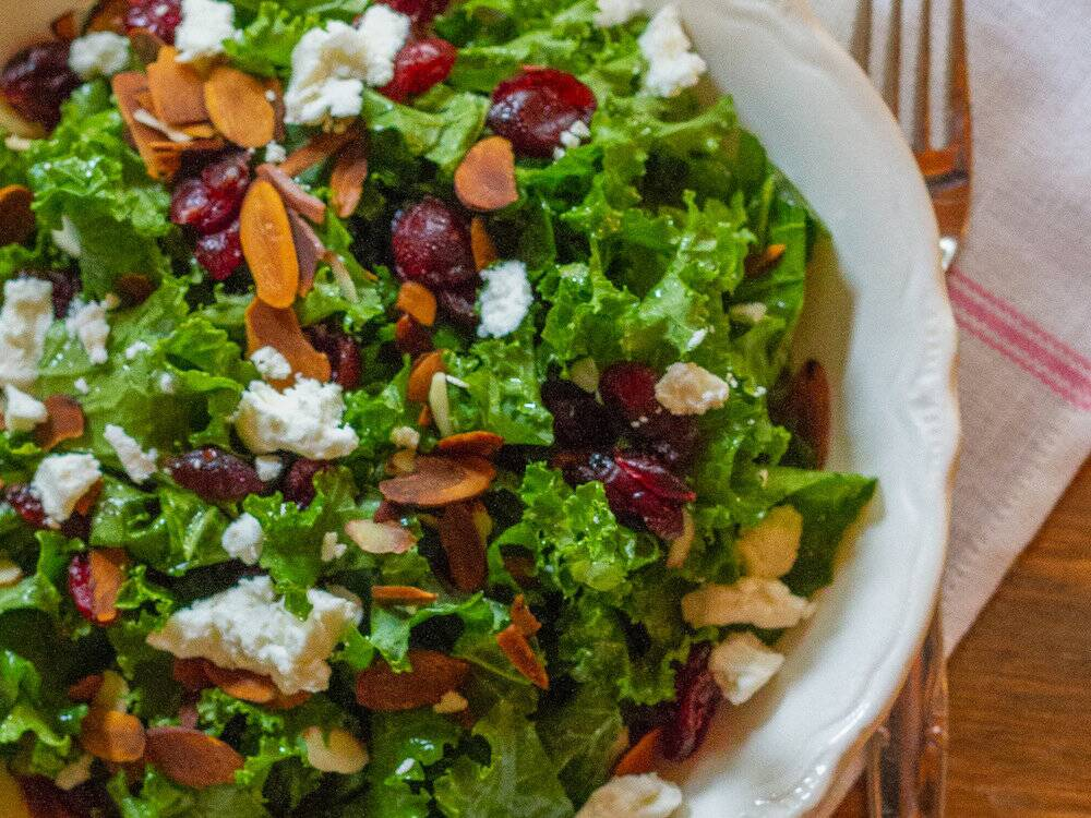recipe: kale salad with cranberries and pumpkin seeds [39]