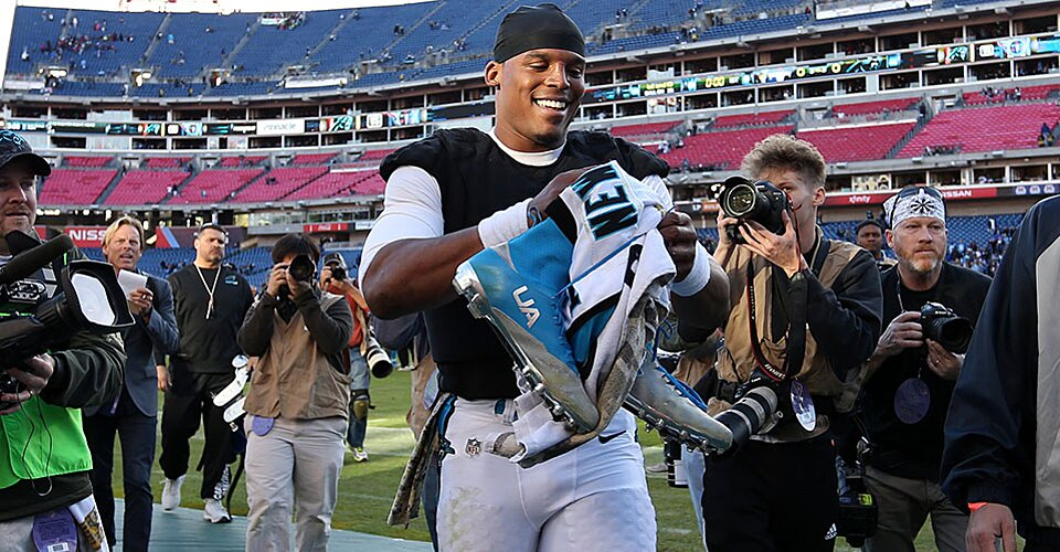 Super Bowl 50  Cam Newton repping both Panthers and Under Armour ... ad4f0d419