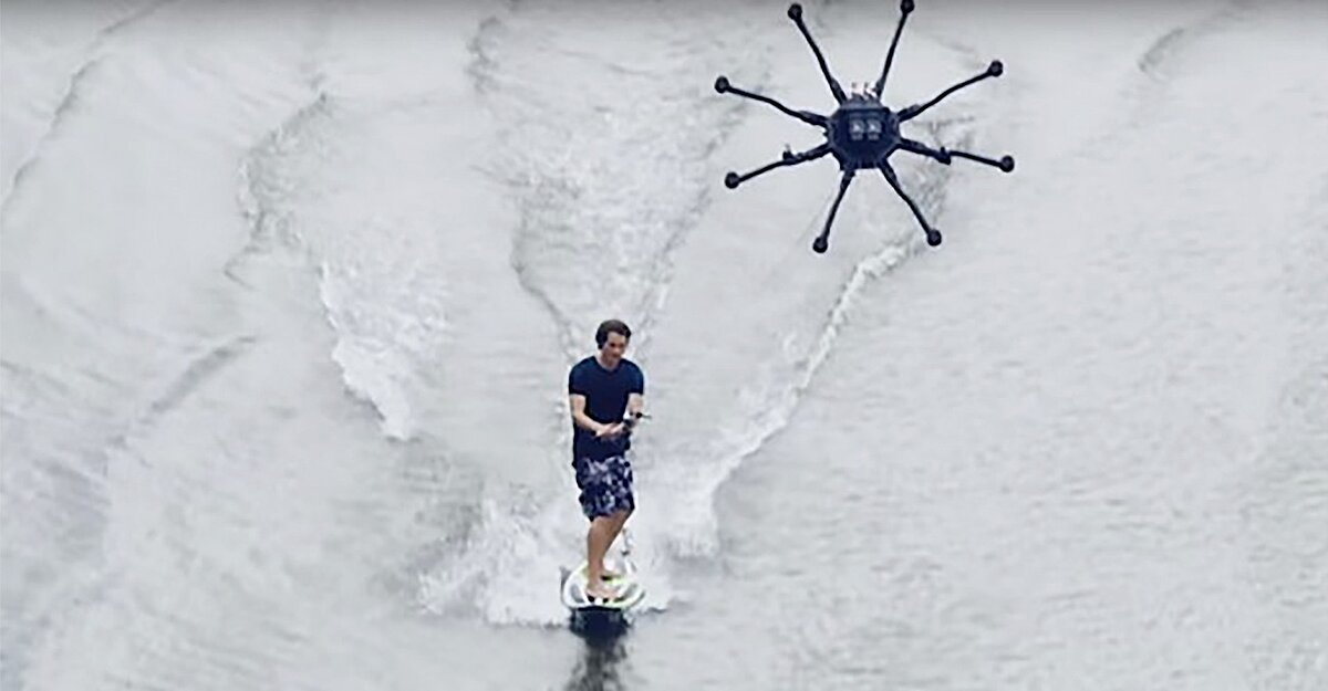 Wakeboarding meets drones in the new sport dronesurfing