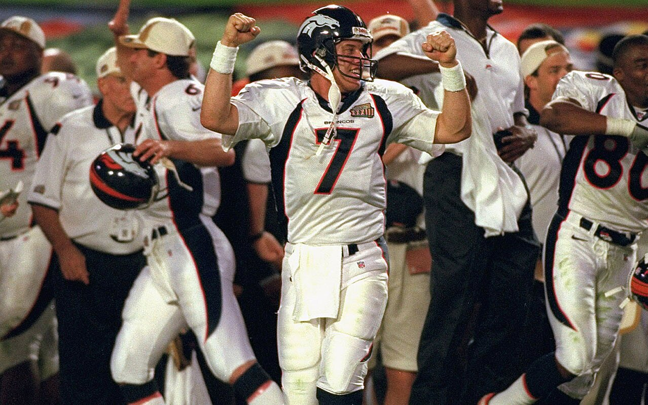 on sale 10e37 a9a6e Super Bowl 33: John Elway and the Broncos stop Falcons | Vault